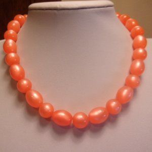 Vintage Orange Glow Plastic Bead Choker Necklace